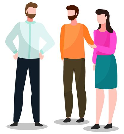 People standing together and talking, illustration of group conversation. Friends meeting, gathering for communication. Vector men with beard, hipsters and woman discussing about important themes