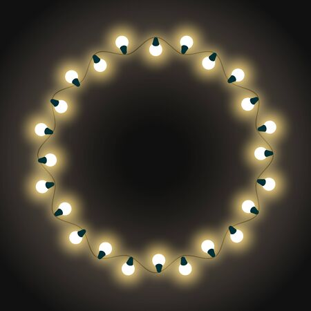 Garlands placed in circle, isolated empty banner with glowing bulbs. Decoration for Christmas and New Year celebration. Winter holidays bright decor, blank rounded shape. Lightbulbs frame for xmas Ilustracja