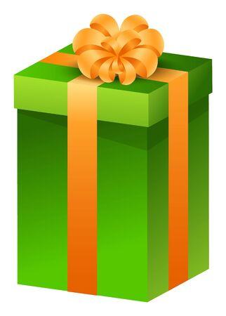 Regalo de Navidad, tradición invernal para saludarse. Caja de vector verde con presente en el interior y atado con lazo y cinta amarilla. Paquete festivo aislado en blanco. Regalo de Navidad 3D, celebración navideña