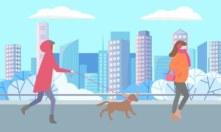 Woman walking with her pet. Dog on leash running with owner. Girl in outerwear strolling with handbag alone in winter urban park. Beautiful snowy landscape of city on background. Vector illustration Ilustrace