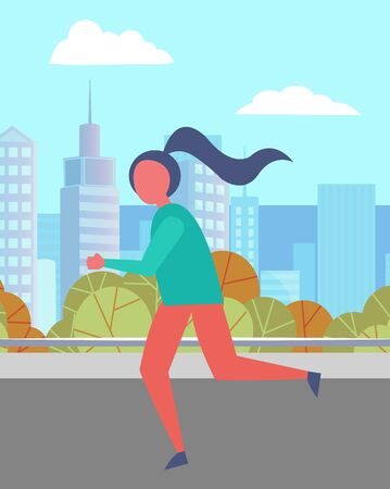 Girl running in urban park in summer. Person spend time actively doing her hobby. Runner on city street. Beautiful landscape on background with skyscrapers. Vector illustration in flat style Ilustracja