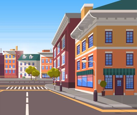 Town with buildings and empty street, 3d look of city road and houses. Bushes and trees, greenery cityscape. Skyline, crossroad with zebra. Cityscape with houses facades. Ubran landscape. Flat cartoon Ilustracja