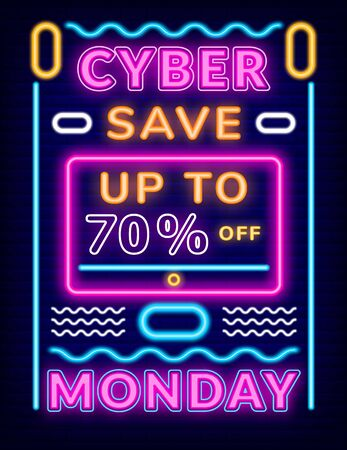Cyber monday save up to 70 percent poster with neon light. Shiny advertising for shopping, business retail. Board decorated by glowing symbols, electronic commerce or colorful promotion vector