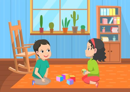 School-children playing cubes, boy and girl sitting on floor with toys. Elementary school, pupils indoor, smiling classmates speaking. Locker with books, plants on windows vector