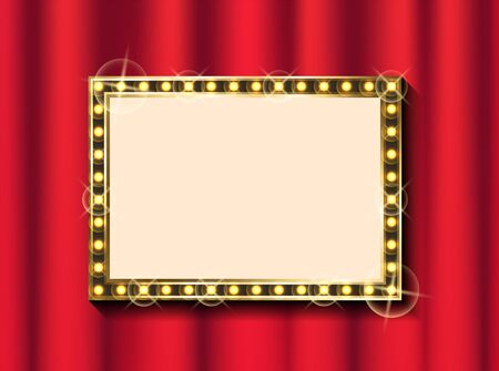 Red theater curtain and blank frame with lamps, show or concert banner template vector. Textile or fabric, hall decoration and framework, backdrop Ilustrace