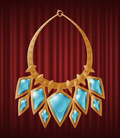 Luxirious golden necklece with multiple diamond shape gemstones. Accessory decorated by blue precious stone, made of gold, gorget necklet collar with brilliants