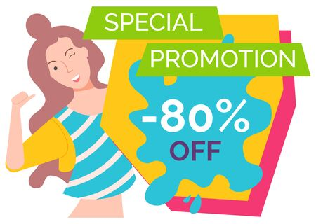 Cheerful personage, isolated female character winking and pointing on herself. Proposition of shop, reduction of price, sale and discount store. Happy woman on black friday sale. Vector in flat style Ilustrace