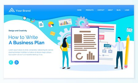 How to write business plan, man and woman presenters, scheme and graph on paper. Workers cooperation, diagram and set icons, manager strategy vector. App slider or landing page template in flat style
