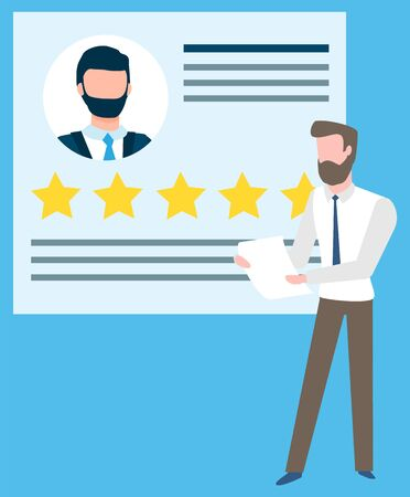 Document with rating stars and text vector, isolated businessman holding information about partner. Manager with papers and data on worker flat style  イラスト・ベクター素材