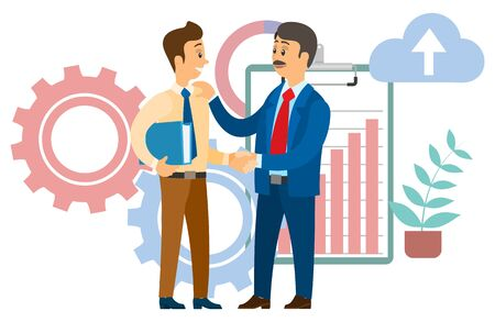 Boss congratulating employee with career promotion. Chief and manager shaking hands, agreement for cooperation. Clipboard with rising graph vector illustration