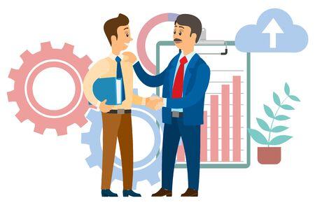 Jefe felicitando al empleado con la promoción profesional. Jefe y gerente estrecharme la mano, acuerdo de cooperación. Portapapeles con ilustración de vector de gráfico ascendente