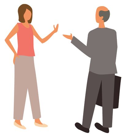 Woman talking with bold man with suitcase, isolated cartoon people on white. Vector male and woman business partners. Wifi and husband talk 일러스트
