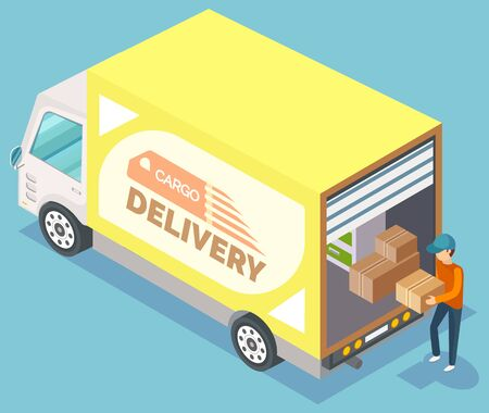 Mover holding box, unloading furniture, cargo delivery. Man in cap carrying case, vehicle with cardboard and wooden object, transportation vector