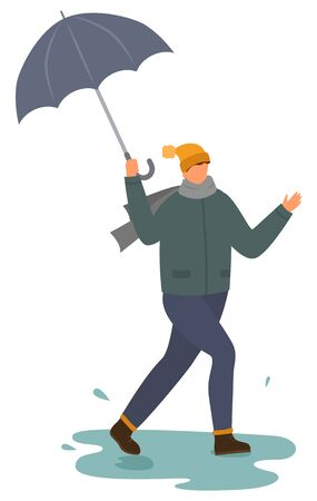 Character happy of raining weather vector, isolated man with umbrella dancing under rain. Person walking with parasol, stepping into puddle. Rainfall in autumn, male wearing warm clothes flat style Иллюстрация