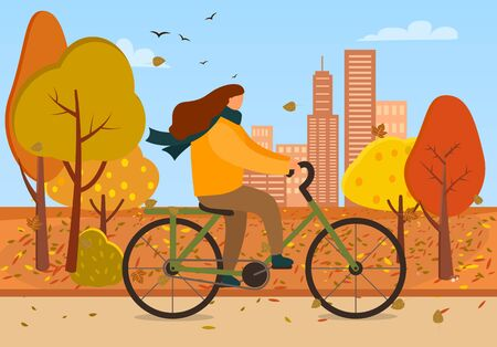 Woman on bike vector, female character riding bicycle in autumn park. Cityscape with skyscrapers and trees with falling leaves. Fall season and weekends pastime of people, bicyclist in warm clothes Ilustracja