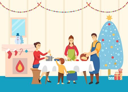 Family at home making food for Christmas table vector. Father and mother with kids cooking dishes. Celebration of xmas and winter holidays. Room with pine tree and garlands, fireplace and socks