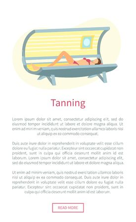 Tanning poster with woman lying in indoors tan case and sunbathing under radioactive ultraviolet rays. Banner with woman getting brown skin in solarium Ilustracja
