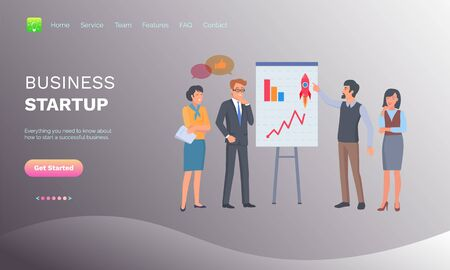Business stratup and teamwork, brainstorming and discussing success, portrait view of workers in casual clothes standing near presentation vector. Website or webpage template, landing page flat style