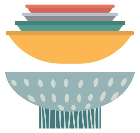 Stack of clay pots isolated flat style kitchen utensils. Vector household crockery, terracotta pottery. Several ceramic earthenware flowerpots, food bowls