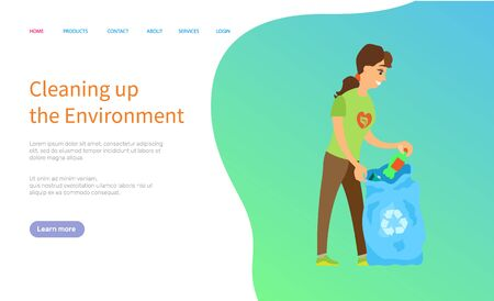 Cleaning up environment, woman volunteer holding bag with trash, activist scavenging, female character with bottle, environmentally caring vector. Website or slider app, landing page flat style