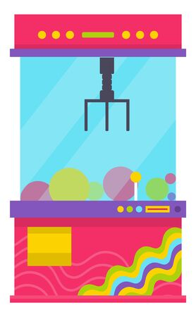 Glass box with claw to get toys from inside vector, isolated game machine flat style. Robotic hand tool, controller for grasping objects in container