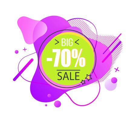 Big sale offer abstract vector purple promo sticker, seventy percent off advertisement. Wavy label with geometrical shape design, liquid shaped tag Stock Illustratie