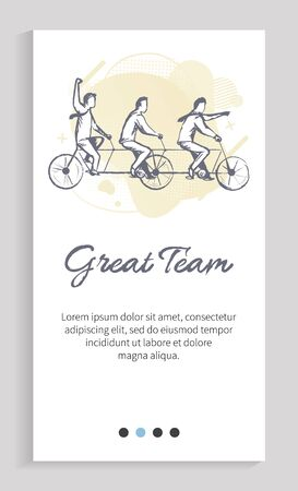 Great tea vector, people riding bicycles and leading active lifestyle, monochrome sketch of workers on free time, active live communication. Website or app slider template, landing page flat style