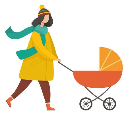 Mother going with pram in autumn park. Woman character going with baby in stroller. Side view of female character wearing warm clothes and walking outdoor, motherhood and leisure activity vector