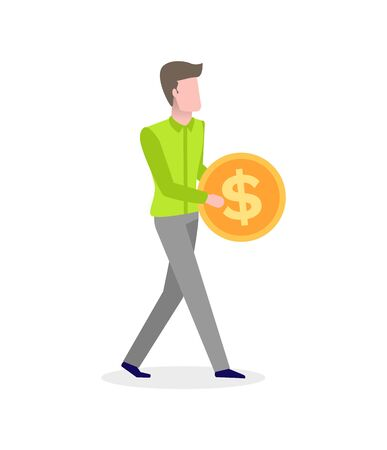 Male making investments, increasing income and financial profit, dollar sign on money. Vector man with golden coin in hands isolated cartoon character