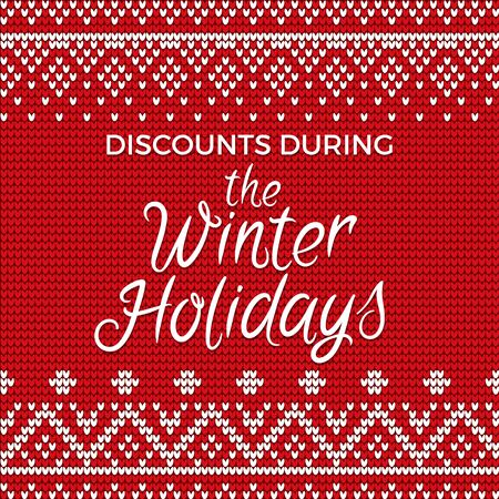 Discounts during winter holidays vector, embroidered pattern with floral and geometric elements. Red and white embroidery with stitches. Banner for text, decoration for festival flat illustration