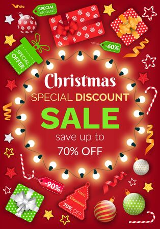 Christmas sale special discount vector, banner with sample text. 70 percent off price reduction. Poster with garlands and gifts. Presents in wrapping for winter holidays, baubles for pine tree decor