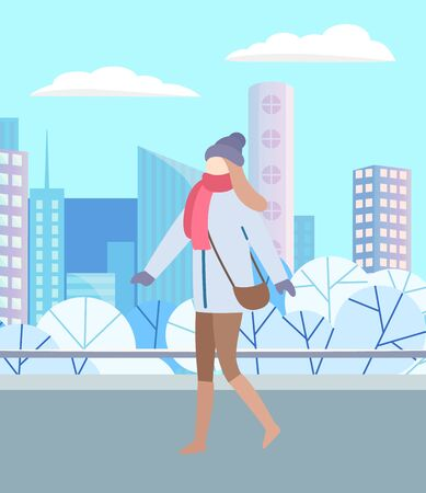 Woman walking through urban winter park alone. Girl in warm clothes, outerwear and scarf, mittens and hat, also with handbag. Snowy landscape of city on background. Vector illustration in flat style