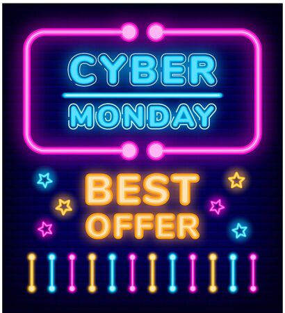 Cyber monday offer vector, neon frame with text. Best discount, sign decorated with stars and colorful lines. Retro style of banners for shops. Promotion and clearance of stores illustration