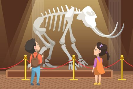 School education and excursions vector, boy and girl looking at skeleton of prehistoric creature remains. Exhibition in museum, history lessons, back to school concept. Flat cartoon Ilustracja