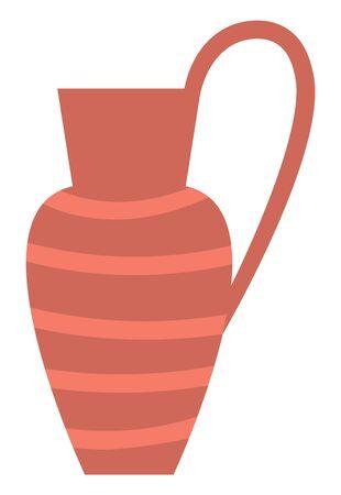 Vaso di terracotta, contenitore di stoviglie a strisce con manico isolato. Brocca di ceramica tradizionale antica di vettore, ceramiche d'epoca. Artigianato in terracotta, vaso retrò Vettoriali