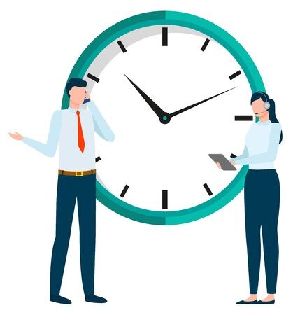 People working in pair vector, man and woman business partners standing by clock. Deadline and countdown, businessman talking on phone solving problems Ilustrace