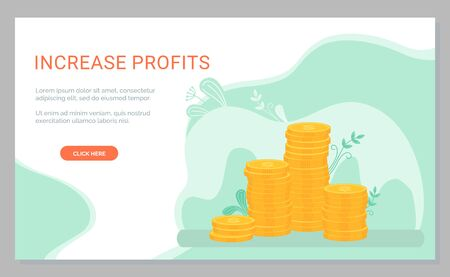 Increase in profits vector, golden coins pile, and foliage decoration. Accumulation and investment, capital gaining and earning of money. Website or webpage template, landing page flat style