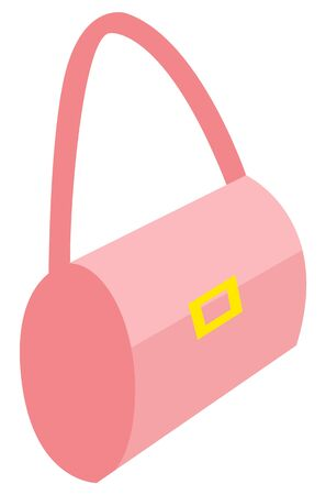 女性ベクター用アクセサリー、ゴールドクラスプ付きのスタイリッシュな財布。エレガントな女性の完全な外観にピンクの装飾、トレンディな人々