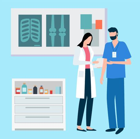 Medical workers talking about patients results vector, hospital laboratory. Man and woman discussing xray, cabinet with medicine and prescription drugs