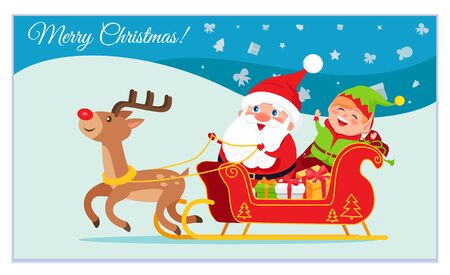 Merry Christmas vector, celebration of winter holidays. Decorative card with character. Santa Claus with elf and presents riding in carriage. Reindeer running in snowy landscape. New Year in december Illustration