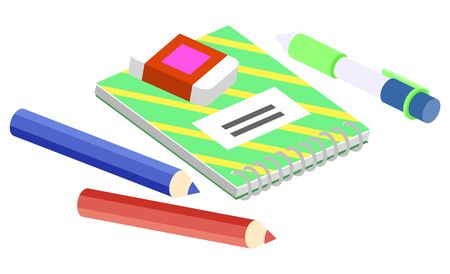 Set of stationery for school, college and university or work at office. Notebook with metal spiral, colorful pencils and eraser vector illustration