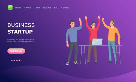 Business startup vector, people celebrating success, coworkers with innovative solution for project, meeting of colleagues, conference of men. Website or webpage template, landing page flat style  イラスト・ベクター素材