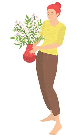Female character carrying vase filled with flowers, isolated woman wearing sweater and trousers. Lady with flora decoration in container flat style