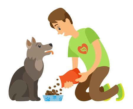 Volunteer feeding homeless dog by dry food vector isolated cartoon style man and hungry puppy. Help to animal, pet in veterinary center or charity organization