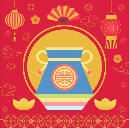 Chinese lucky bag with fortune vector, sack with cookies containing prediction. Fan and floral decoration, lantern and coins. Oriental style of celebration and wishing of success and happiness
