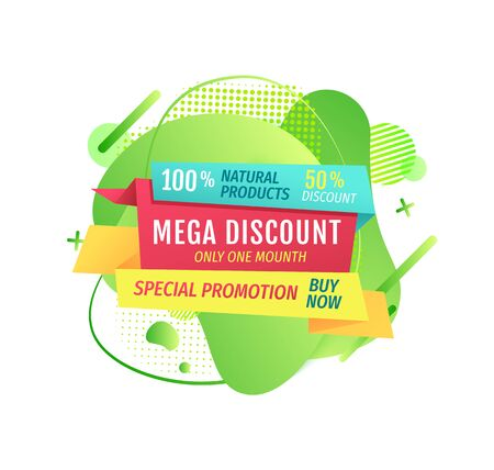 Mega discounts special offer of shop vector, market proposition on isolated banner, percent and buy now sign stores proposing price reduction on goods
