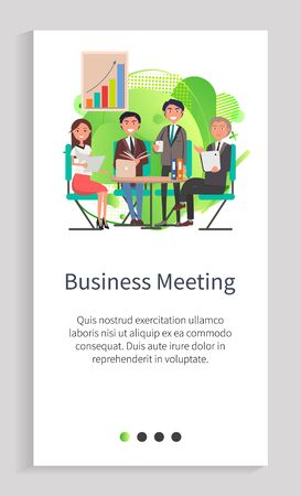 Business meeting vector, people sitting by table discussing problems of company, partners on conference, rally presentation with charts info. Website or app slider template, landing page flat style