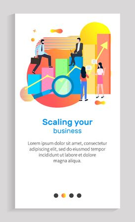 Scaling your business vector, man and woman working in field together, infochart with magnifying glass and person on infochart, successful work. Website or app slider template, landing page flat style