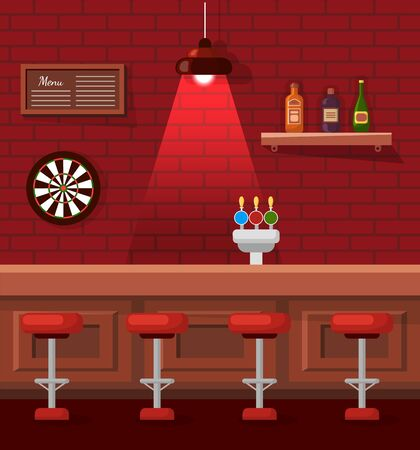 Pub or bar empty place for fun vector, table and barstools. Dartboard on brick wall, atmospheric red lights and alcohol on shelves. Wooden interior Vectores