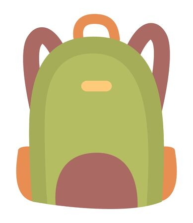 Colored school backpack. Education and study back to school, schoolbag luggage, rucksack vector illustration. Kids school bag with education equipment. Backpacks with study supplies. Student satchels Ilustração